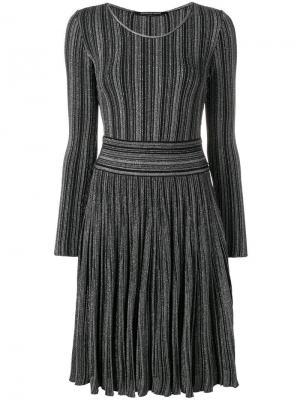 Трикотажное платье металлик в рубчик Antonino Valenti. Цвет: черный