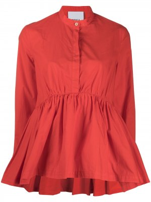 Блузка A-силуэта с воротником-стойкой Erika Cavallini. Цвет: оранжевый