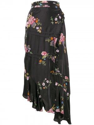 Юбка Kalifa с цветочным принтом Preen Line. Цвет: черный