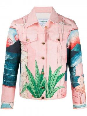 Джинсовая куртка с принтом Casablanca. Цвет: розовый