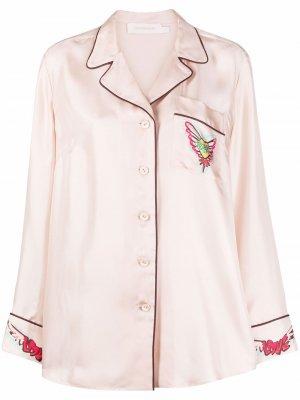 Пижамная рубашка с контрастной отделкой Zimmermann. Цвет: розовый