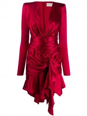 Атласное платье с драпировкой Alexandre Vauthier. Цвет: красный