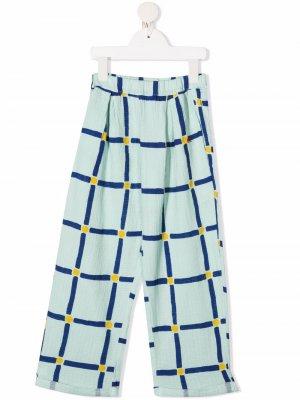Широкие брюки в клетку Bobo Choses. Цвет: зеленый