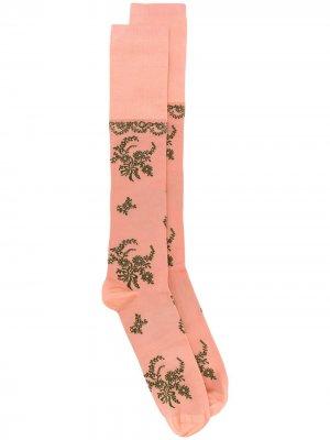 Длинные жаккардовые носки с цветочным узором Simone Rocha. Цвет: розовый