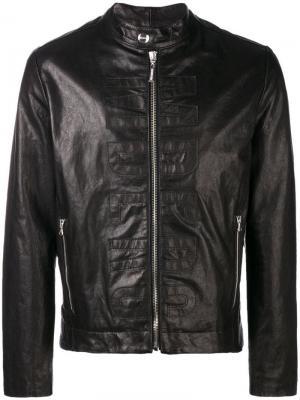 Logo leather jacket Dirk Bikkembergs. Цвет: черный