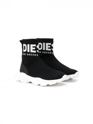 Кроссовки-носки с логотипом Diesel Kids. Цвет: черный