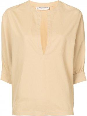 Блузка с вырезом Yves Saint Laurent Pre-Owned. Цвет: желтый