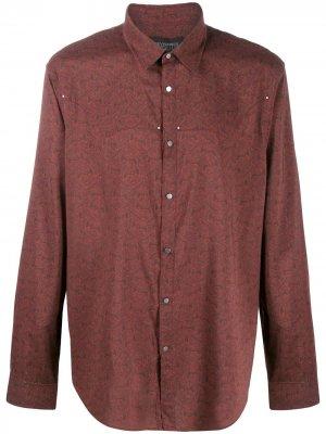 Рубашка с длинными рукавами и принтом John Varvatos. Цвет: красный