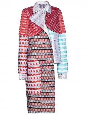 Пальто асимметричного кроя в технике пэчворк Mariah Esa. Цвет: белый