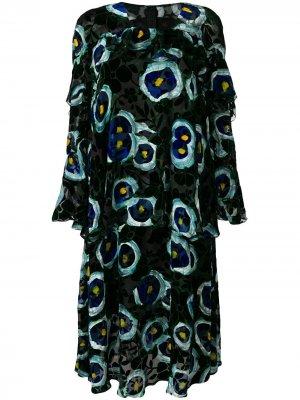 Velvet floral print dress Talbot Runhof. Цвет: черный