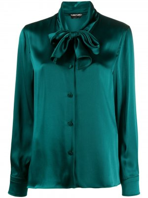 Блузка с бантом Tom Ford. Цвет: зеленый