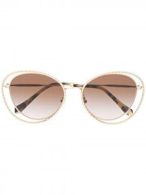 Солнцезащитные очки La Mondaine в оправе кошачий глаз Miu Eyewear. Цвет: золотистый