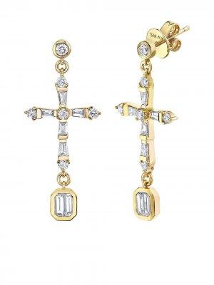 Серьги-подвески из желтого золота с бриллиантами SHAY. Цвет: золотистый