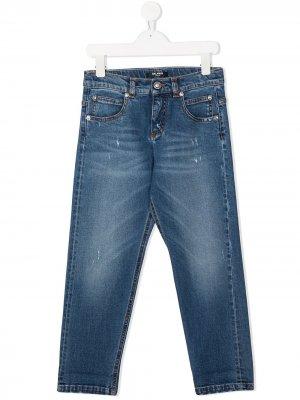 Прямые джинсы с эффектом потертости Balmain Kids. Цвет: синий