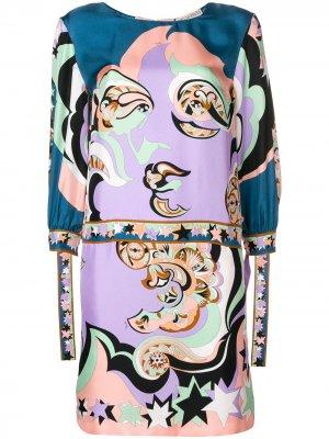 Multi printed cuffed shift dress Emilio Pucci. Цвет: розовый