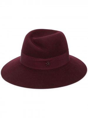 Шляпа-федора с металлическим логотипом Maison Michel. Цвет: red черный