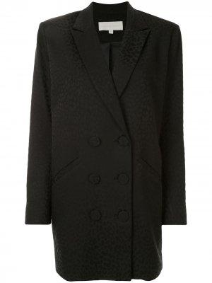 Жаккардовое платье-блейзер с леопардовым узором Michelle Mason. Цвет: черный
