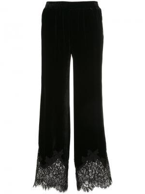 Бархатные брюки с кружевной отделкой Gold Hawk. Цвет: черный