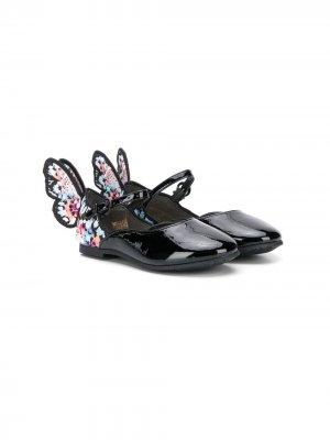 Балетки с декором в виде бабочки Sophia Webster Mini. Цвет: черный