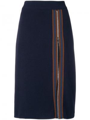 Stripe zip panel pencil skirt Ki6. Цвет: синий