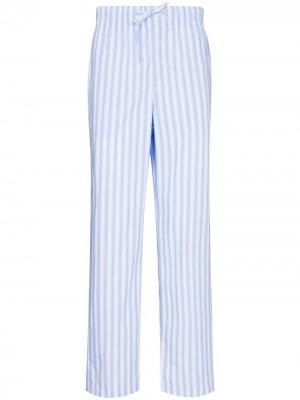 Пижамные брюки в полоску TEKLA. Цвет: синий