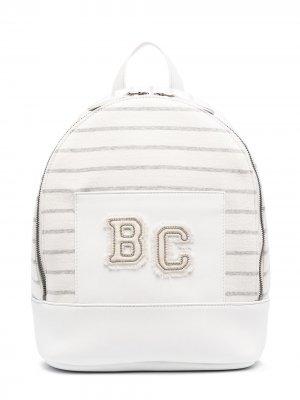 Полосатый рюкзак с вышитым логотипом Brunello Cucinelli Kids. Цвет: белый
