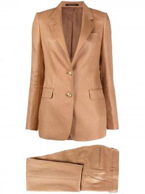 Костюм-двойка с однобортным пиджаком Tagliatore. Цвет: коричневый