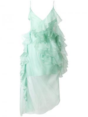 Расклешенное платье с оборками Preen By Thornton Bregazzi. Цвет: зеленый