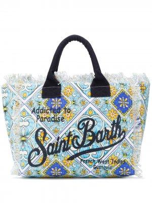 Пляжная сумка с графичным логотипом Mc2 Saint Barth. Цвет: синий