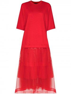 Платье-футболка длины миди из тюля Simone Rocha. Цвет: красный