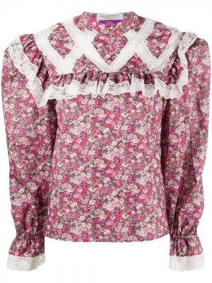 Блузка с цветочным принтом и кружевной вставкой Philosophy Di Lorenzo Serafini. Цвет: розовый
