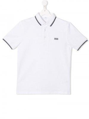 Классическая рубашка-поло BOSS Kidswear. Цвет: белый