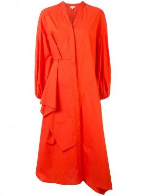 Платье-рубашка асимметричного кроя Enföld. Цвет: оранжевый