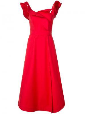 Расклешенное платье с оборками Vika Gazinskaya. Цвет: красный