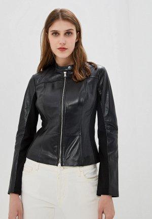 Куртка кожаная Hugo. Цвет: черный