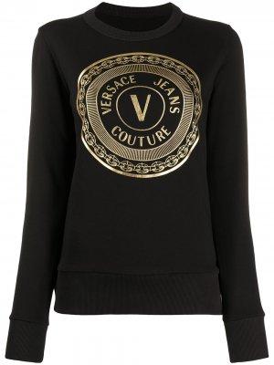 Футболка с круглым вырезом и логотипом Versace Jeans Couture. Цвет: черный