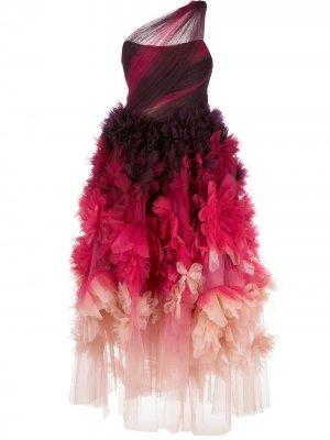 Платье на одно плечо с цветочным принтом Marchesa. Цвет: розовый