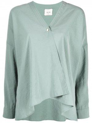 Блузка асимметричного кроя Alysi. Цвет: зеленый