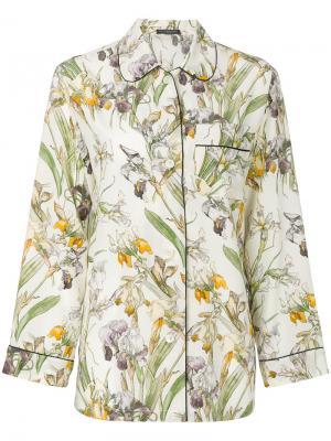 Пижамная рубашка с цветочным принтом Alexander McQueen. Цвет: телесный