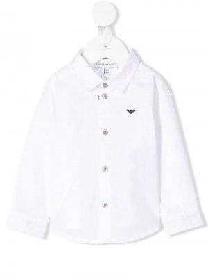 Рубашка с логотипом Emporio Armani Kids. Цвет: белый