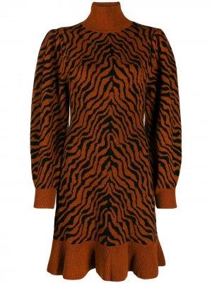 Трикотажное платье с анималистичным принтом Ulla Johnson. Цвет: коричневый