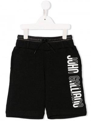 Спортивные шорты с логотипом John Galliano Kids. Цвет: черный