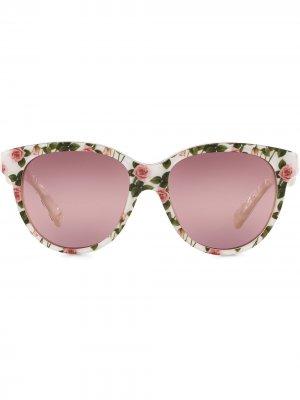 Солнцезащитные очки Tropical Rose в круглой оправе Dolce & Gabbana Eyewear. Цвет: розовый