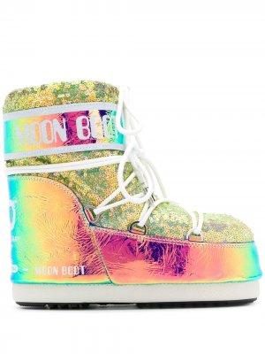 Зимние ботинки Moon Boot. Цвет: розовый