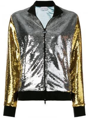 Двухцветная куртка с пайетками Chiara Ferragni. Цвет: металлик