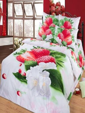 Комплект постельного белья из тк.Сатин в подарочной упаковке Клубника Арт Постель. Цвет: белый, зеленый, красный