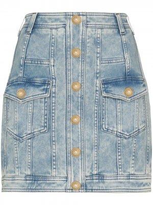 Джинсовая юбка мини на пуговицах Balmain. Цвет: синий