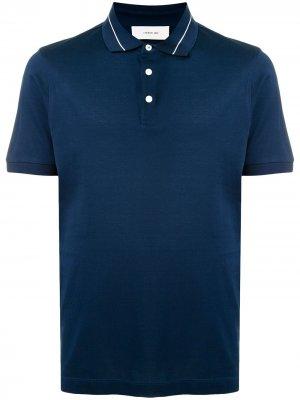 Рубашка поло с отделкой в полоску Cerruti 1881. Цвет: синий