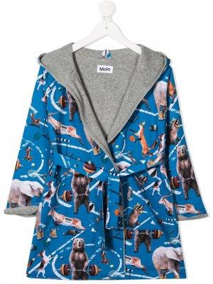Халат с капюшоном и графичным принтом Molo. Цвет: синий