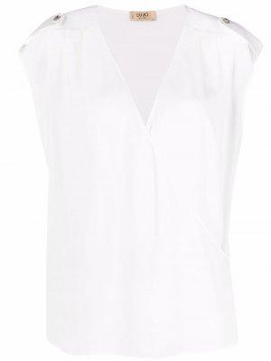 Блузка с V-образным вырезом и короткими рукавами LIU JO. Цвет: белый